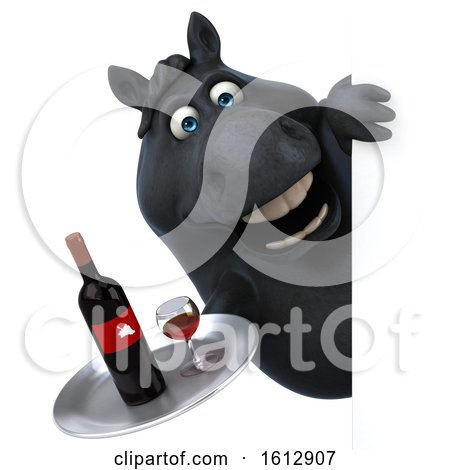 Clipart of a 3d Chubby Black Horse Holding Wine, on a White Background - Royalty Free Illustration by Julos