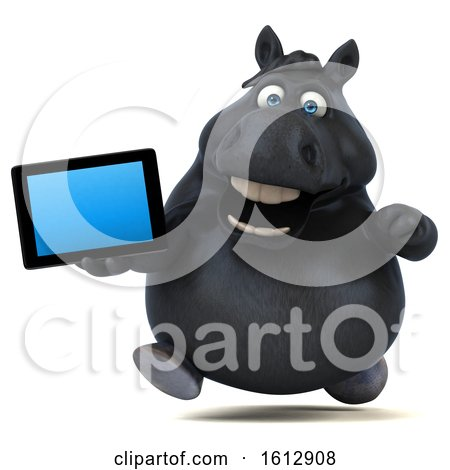 Clipart of a 3d Chubby Black Horse Holding a Tablet, on a White Background - Royalty Free Illustration by Julos