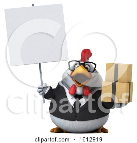 Clipart of a 3d White Business Chicken Holding Boxes, on a White Background - Royalty Free Illustration by Julos