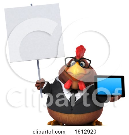 Clipart of a 3d Brown Business Chicken Holding a Tablet, on a White Background - Royalty Free Illustration by Julos