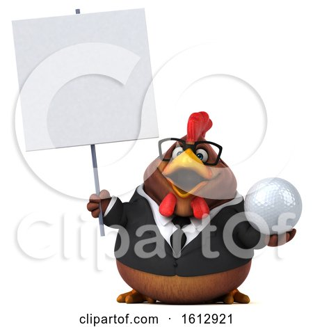 Clipart of a 3d Brown Business Chicken Holding a Golf Ball, on a White Background - Royalty Free Illustration by Julos