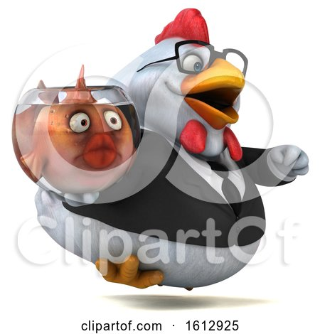 Clipart of a 3d White Business Chicken Holding a Fish Bowl, on a White Background - Royalty Free Illustration by Julos