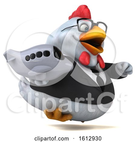 Clipart of a 3d White Business Chicken Holding a Plane, on a White Background - Royalty Free Illustration by Julos