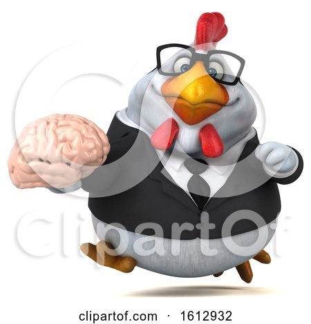 Clipart of a 3d White Business Chicken Holding a Brain, on a White Background - Royalty Free Illustration by Julos