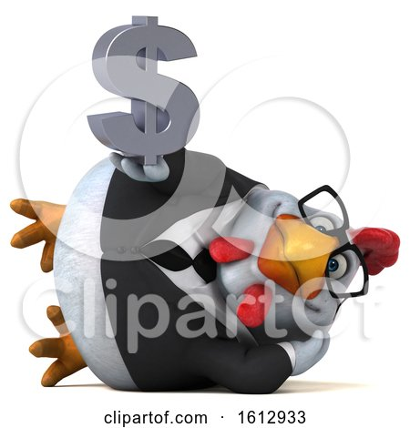Clipart of a 3d White Business Chicken Holding a Dollar Sign, on a White Background - Royalty Free Illustration by Julos
