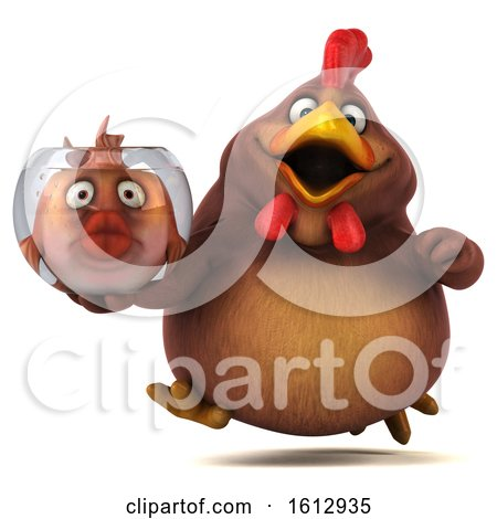 Clipart of a 3d Brown Chicken Holding a Fish Bowl, on a White Background - Royalty Free Illustration by Julos