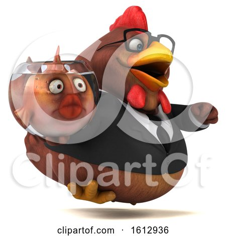 Clipart of a 3d Brown Business Chicken Holding a Fish Bowl, on a White Background - Royalty Free Illustration by Julos