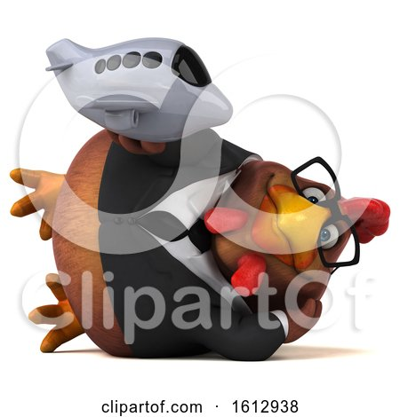 Clipart of a 3d Brown Business Chicken Holding a Plane, on a White Background - Royalty Free Illustration by Julos