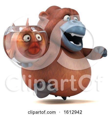 Clipart of a 3d Orangutan Monkey Holding a Fish Bowl, on a White Background - Royalty Free Illustration by Julos