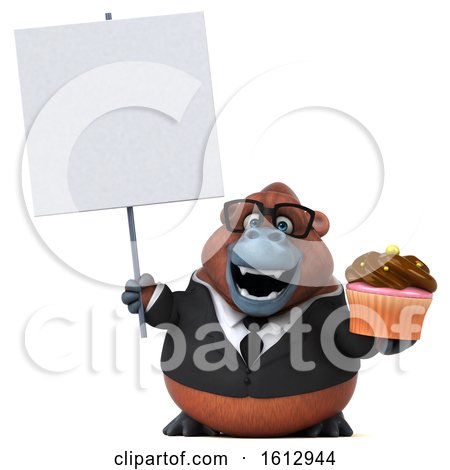 Clipart of a 3d Business Orangutan Monkey Holding a Cupcake, on a White Background - Royalty Free Illustration by Julos