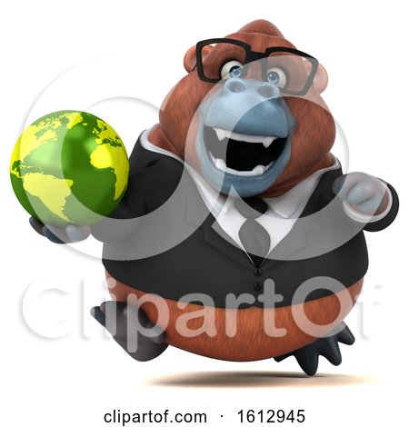 Clipart of a 3d Business Orangutan Monkey Holding a Globe, on a White Background - Royalty Free Illustration by Julos