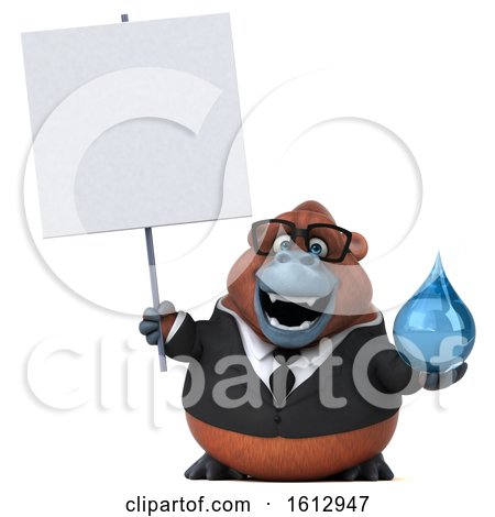 Clipart of a 3d Business Orangutan Monkey Holding a Water Drop, on a White Background - Royalty Free Illustration by Julos