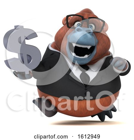 Clipart of a 3d Business Orangutan Monkey Holding a Dollar Sign, on a White Background - Royalty Free Illustration by Julos
