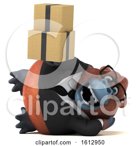 Clipart of a 3d Business Orangutan Monkey Holding Boxes, on a White Background - Royalty Free Illustration by Julos