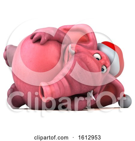 Clipart of a 3d Pink Christmas Elephant Resting, on a White Background - Royalty Free Illustration by Julos