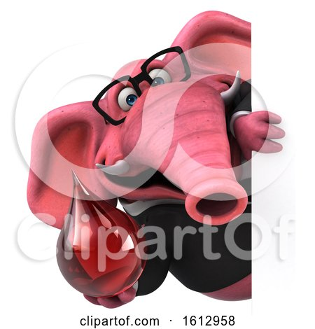 Clipart of a 3d Pink Business Elephant Holding a Blood Drop, on a White Background - Royalty Free Illustration by Julos