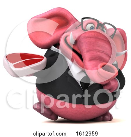 Clipart of a 3d Pink Business Elephant Holding a Steak, on a White Background - Royalty Free Illustration by Julos