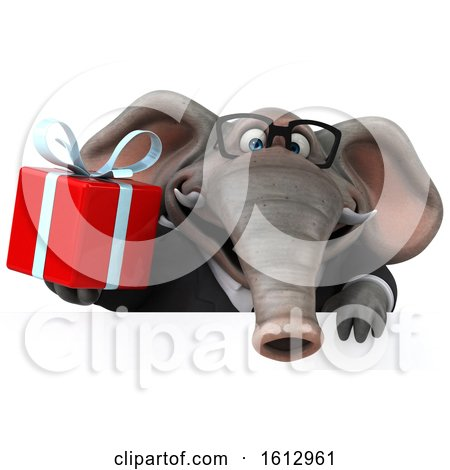 Clipart of a 3d Business Elephant Holding a Gift, on a White Background - Royalty Free Illustration by Julos