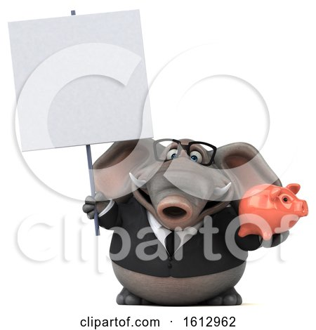 Clipart of a 3d Business Elephant Holding a Piggy Bank, on a White Background - Royalty Free Illustration by Julos