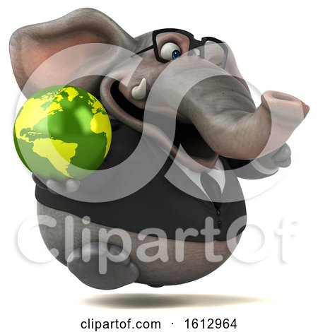 Clipart of a 3d Business Elephant Holding a Globe, on a White Background - Royalty Free Illustration by Julos