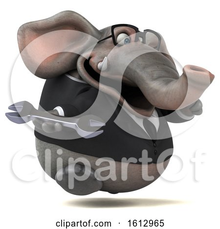 Clipart of a 3d Business Elephant Holding a Wrench, on a White Background - Royalty Free Illustration by Julos