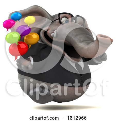 Clipart of a 3d Business Elephant Holding Messages, on a White Background - Royalty Free Illustration by Julos