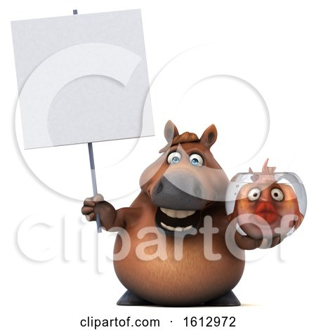 Clipart of a 3d Chubby Brown Horse Holding a Fish Bowl, on a White Background - Royalty Free Illustration by Julos