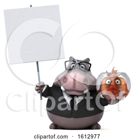 Clipart of a 3d Business Hippo Holding a Fish Bowl, on a White Background - Royalty Free Illustration by Julos
