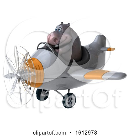 Clipart of a 3d Hippo Flying a Plane, on a White Background - Royalty Free Illustration by Julos