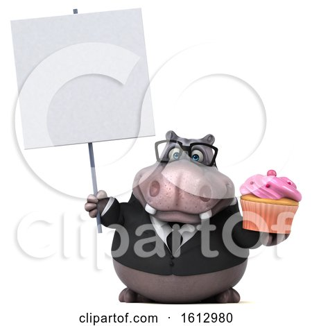 Clipart of a 3d Business Hippo Holding a Cupcake, on a White Background - Royalty Free Illustration by Julos