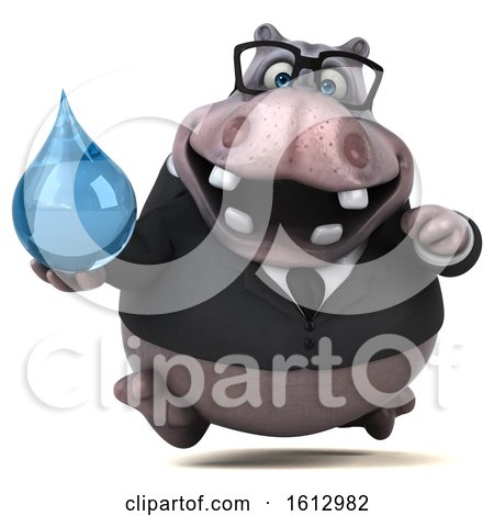 Clipart of a 3d Business Hippo Holding a Water Drop, on a White Background - Royalty Free Illustration by Julos