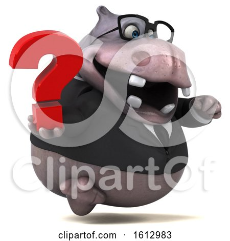Clipart of a 3d Business Hippo Holding a Question Mark, on a White Background - Royalty Free Illustration by Julos