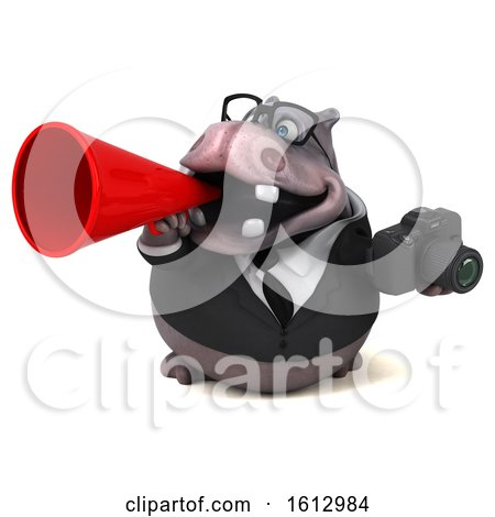 Clipart of a 3d Business Hippo Holding a Camera, on a White Background - Royalty Free Illustration by Julos