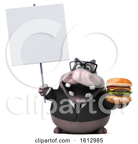 Clipart of a 3d Business Hippo Holding a Burger, on a White Background - Royalty Free Illustration by Julos