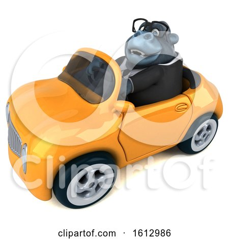 Clipart of a 3d Business Gorilla Driving a Convertible, on a White Background - Royalty Free Illustration by Julos