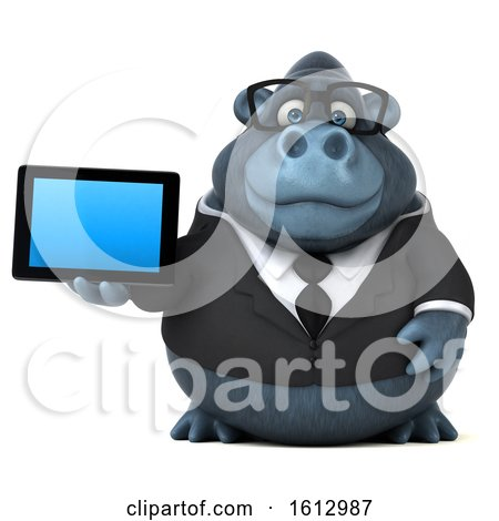 Clipart of a 3d Business Gorilla Holding a Tablet, on a White Background - Royalty Free Illustration by Julos