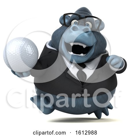 Clipart of a 3d Business Gorilla Holding a Golf Ball, on a White Background - Royalty Free Illustration by Julos