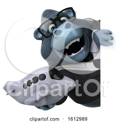 Clipart of a 3d Business Gorilla Holding a Plane, on a White Background - Royalty Free Illustration by Julos