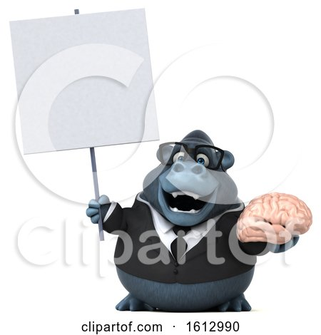 Clipart of a 3d Business Gorilla Holding a Brain, on a White Background - Royalty Free Illustration by Julos