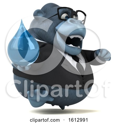 Clipart of a 3d Business Gorilla Holding a Water Drop, on a White Background - Royalty Free Illustration by Julos