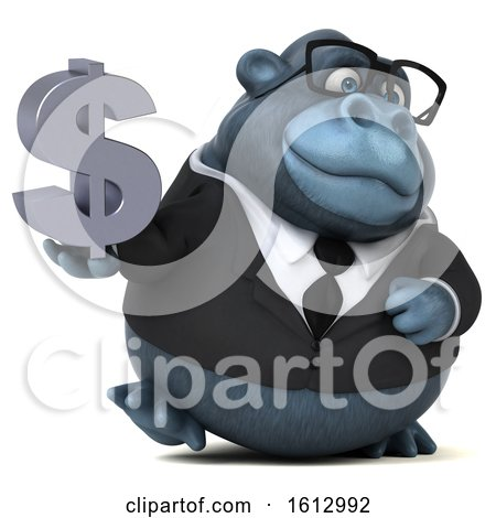 Clipart of a 3d Business Gorilla Holding a Dollar Sign, on a White Background - Royalty Free Illustration by Julos
