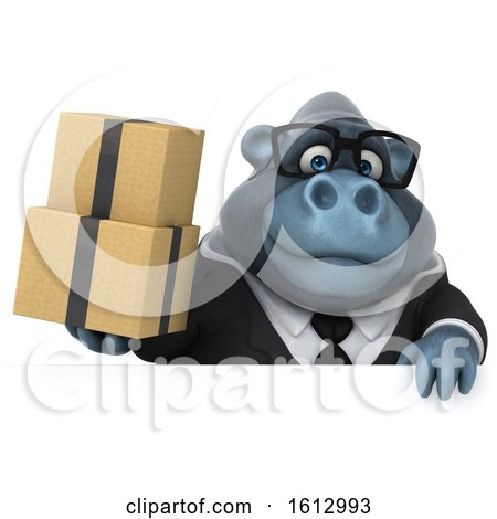 Clipart of a 3d Business Gorilla Holding Boxes, on a White Background - Royalty Free Illustration by Julos