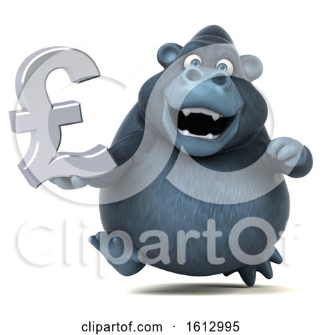 Clipart of a 3d Business Gorilla Holding a Pound Currency Symbol, on a White Background - Royalty Free Illustration by Julos