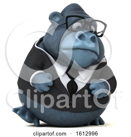 Clipart of a 3d Business Gorilla Walking, on a White Background - Royalty Free Illustration by Julos