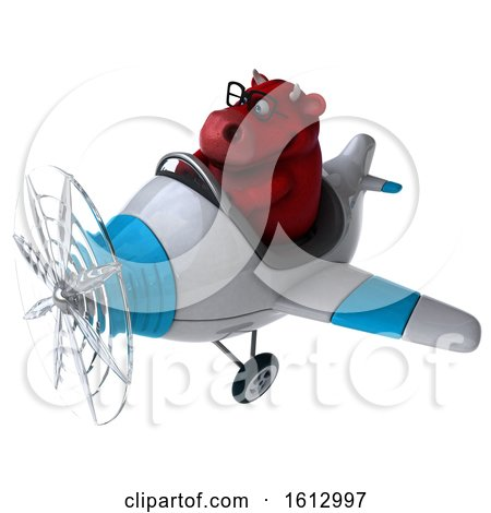 Clipart of a 3d Red Bull Flying a Plane, on a White Background - Royalty Free Illustration by Julos