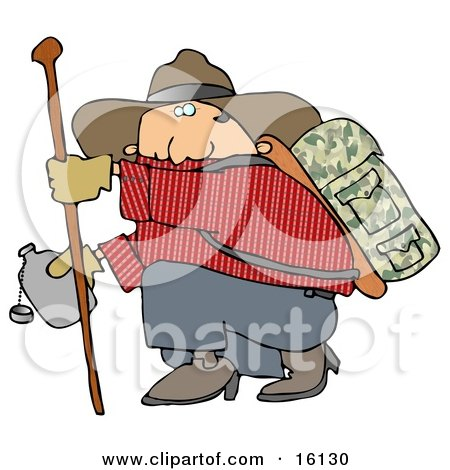 Chubby Cowboy Man Carrying Camping Gear On His Back, Holding Onto A Hiking Stick While Crouching To Drink From A Canteen Posters, Art Prints