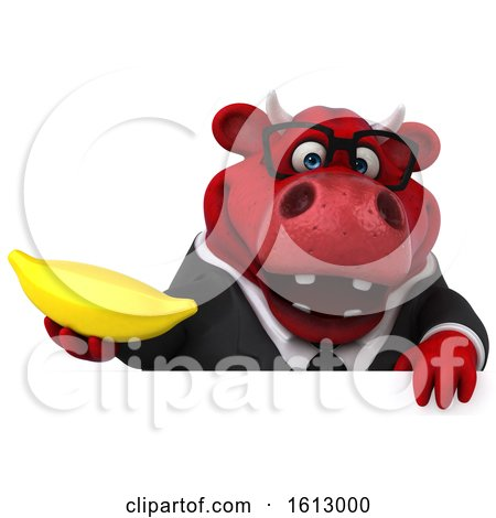 Clipart of a 3d Red Business Bull Holding a Banana, on a White Background - Royalty Free Illustration by Julos