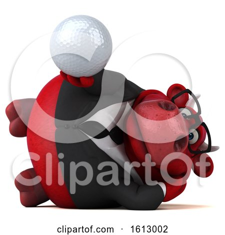 Clipart of a 3d Red Business Bull Holding a Golf Ball, on a White Background - Royalty Free Illustration by Julos