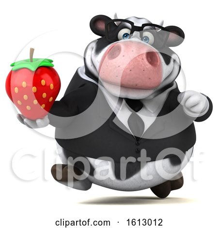 Clipart of a 3d Business Holstein Cow Holding a Strawberry, on a White Background - Royalty Free Illustration by Julos