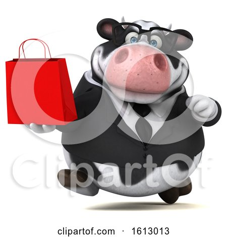 Clipart of a 3d Business Holstein Cow Holding a Shopping Bag, on a White Background - Royalty Free Illustration by Julos